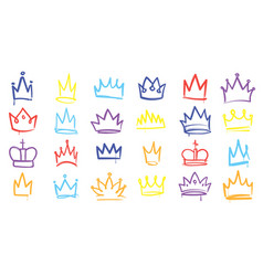 king sketch crown color elegant queen princess vector image