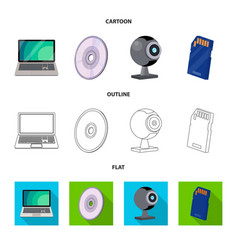 laptop and device icon set vector image
