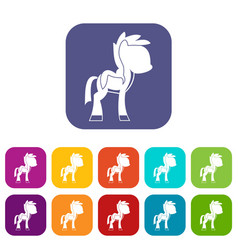 Little pony icons set flat vector