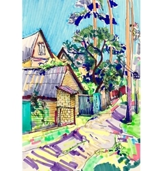 Marker sketch painting of rural landscape with vector