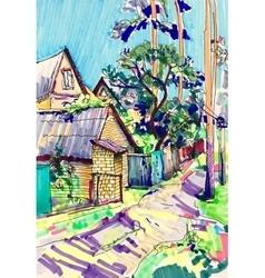 Marker sketch painting rural landscape vector