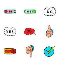 No gesture icons set cartoon style vector