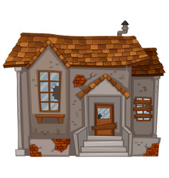 Old house with ruined walls vector
