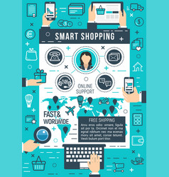 online smart shopping poster vector image