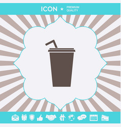 paper cup with drinking straw icon graphic vector image