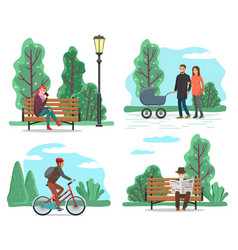 Park and nature people walking or riding bicycle vector