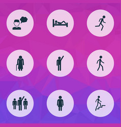 People icons set with leader walking thinker and vector
