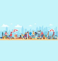 people in flea market cartoon vector image