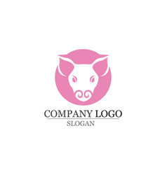 Pig head logo design template pork bbq grill vector