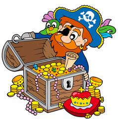 pirate opening treasure chest vector image