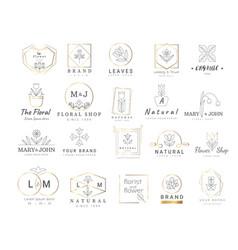 premium floral logo templates for weddinglogo vector image