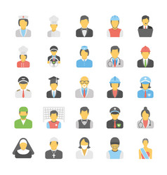 Professions flat icons set vector