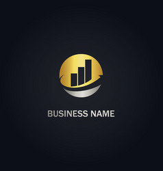 round business graph company gold logo vector image