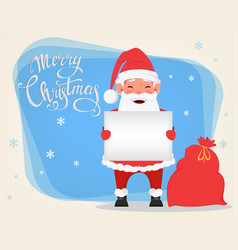 Santa holding blank placard and standing near bag vector