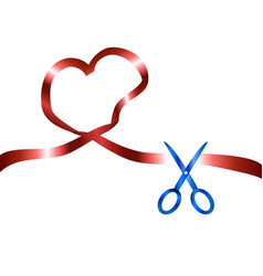 Scissors cut red heart ribbon background vector