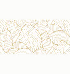 seamless leafs pattern white and gold vector image