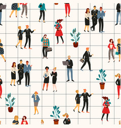 Seamless pattern with office people vector