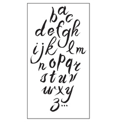Set hand-drawn ink calligraphy alphabet on white vector image
