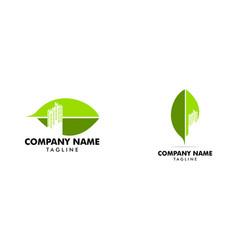 set of city leaf logo vector image