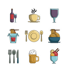 Set of restaurant elements vector