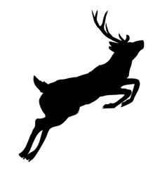 silhouette deer with great antler animal vector image