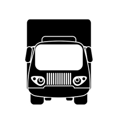 silhouette truck small cargo transportation vector image