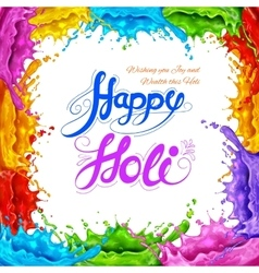 Splashy Happy Holi background vector