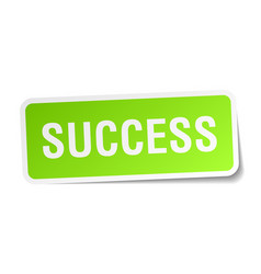 Success square sticker on white vector
