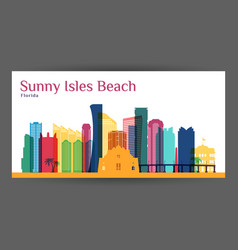 Sunny isles beach city architecture silhouette vector