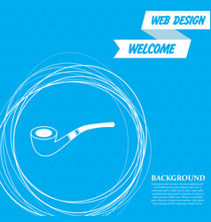 tobacco pipe icon on a blue background with vector image