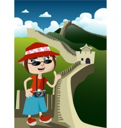 tourist with great wall vector image