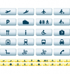 travel icons long buttons vector image