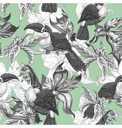 Tropical Seamless Background with Exotic Flowers vector image