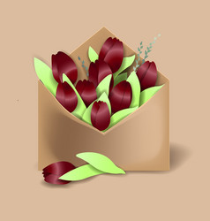 Tulips of bordo color in the paper envelope with vector