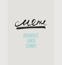 typographic restaurant menu design vector image