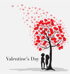 valentine card template with hearts on the tree vector image