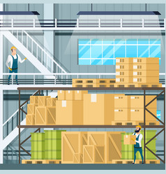 warehouse interior with goods freight weight vector image