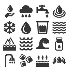 water icons set on white background vector image