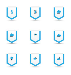 weather icons colored set with stormy flag sun vector image