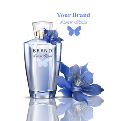 Women perfume bottle lily flower fragrance vector