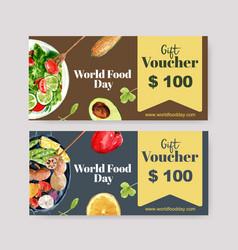 World food day voucher design with cucumber vector
