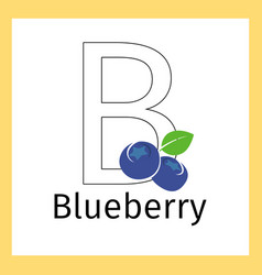 blueberry and letter b coloring page vector image vector image