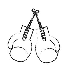 blurred silhouette image set boxing gloves sport vector image vector image