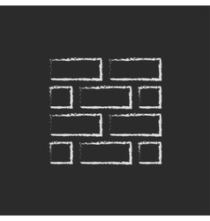 Bricks icon drawn in chalk vector image