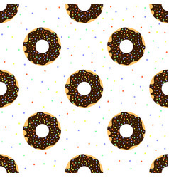 chocolate donuts with colorful sprinkles vector image vector image