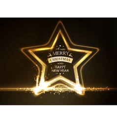 Golden star frame Merry Christmas vector image vector image