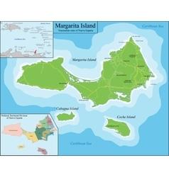Map of Margarita Island vector image vector image