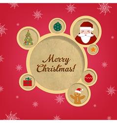 Retro Christmas Web Design Bubbles And Santa Claus vector image vector image