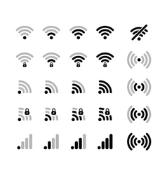 Set of different wifi connection black icons vector image
