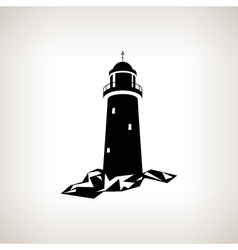 Silhouette lighthouse on a light background vector image